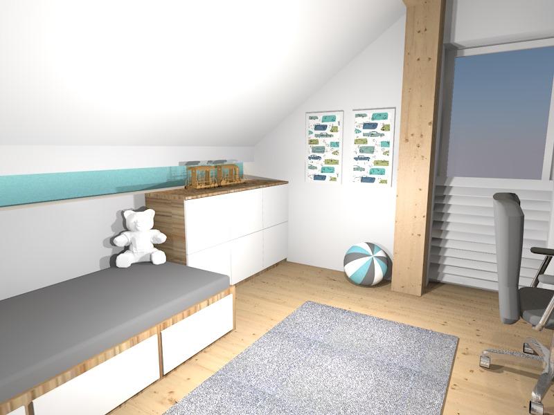 Pokój dla chłopca na poddaszu  Prototyp -> Salon Polączony Z Kuchnią Na Poddaszu