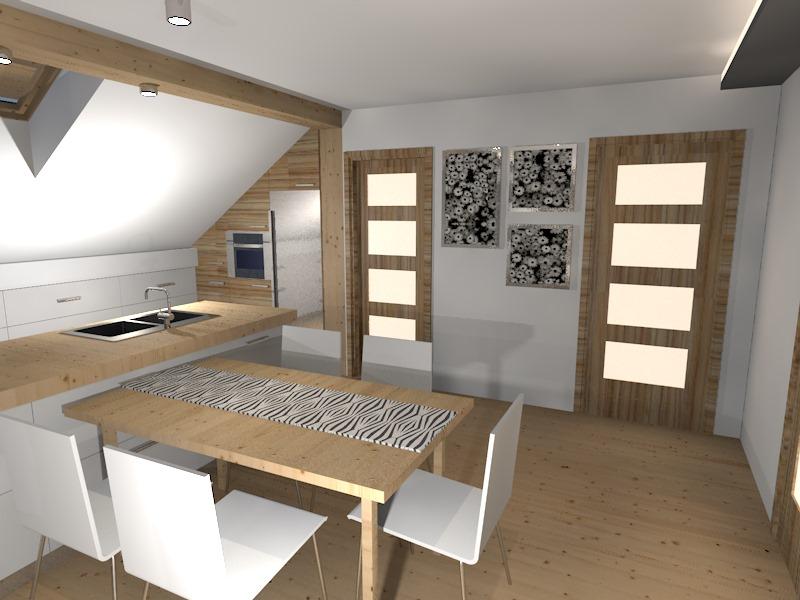 Salon z kuchnią na poddaszu  Prototyp -> Nowoczesna Kuchnia Na Poddaszu