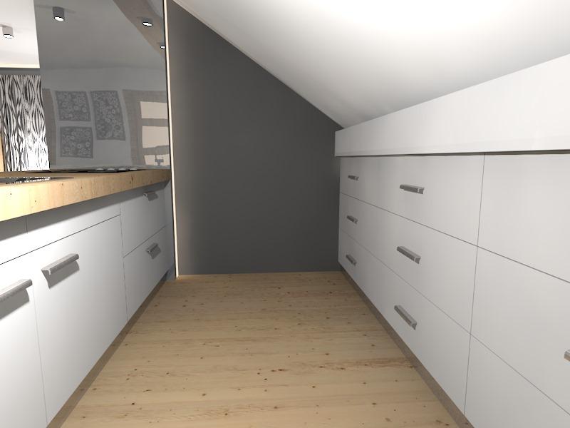 Salon z kuchnią na poddaszu  Prototyp -> Salon Polączony Z Kuchnią Na Poddaszu